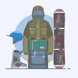 Snowboard akcesoria Zima sportów ikony set Kreskowa kolekcja sztuki akcyjny wektorowy clipart Obrazy Royalty Free