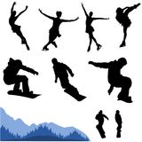 Snowboard and artistic figure vector. Some siluettes of snowboarding and artistic figure Stock Photography