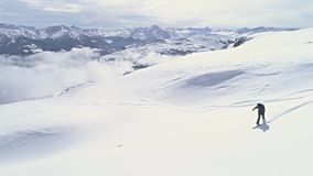 Snowboard Backcountry Mountains Winter Slowmotion Aerial 4k stock video