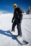 Snowboard beginner stock image