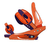 Snowboard binding. With closed buckles side view stock illustration