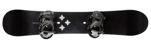 Snowboard with bindings isolated. Black snowboard with bindings on white background Stock Photo