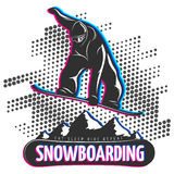Snowboard black print Royalty Free Stock Images
