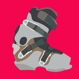 Snowboard boot. Snowboard carving boot in gray color Royalty Free Stock Photos