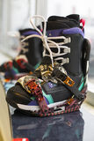 Snowboard with boots. DC black Stock Image