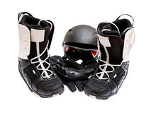 Snowboard boots, helmet, gloves, glasses Royalty Free Stock Image
