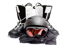 Snowboard boots, helmet, gloves, glasses Stock Photo