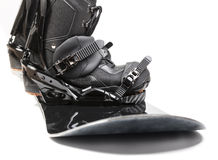 Snowboard with boots on white background Royalty Free Stock Photo