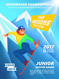 Snowboard championship event poster. Snowboarder jump. Vintage vector illustration of teenage snowboarder character on mountain background Royalty Free Stock Photos