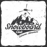 Snowboard Club. Vector illustration. Concept for shirt or logo, print, stamp or tee. Snowboard Club. Vector illustration. Concept for shirt, print, stamp, badge Royalty Free Stock Photography