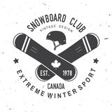 Snowboard Club. Vector illustration. Concept for shirt, print, stamp or tee. Snowboard Club. Canada. Vector illustration. Concept for shirt , print, stamp or Stock Image