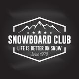 Snowboard Club. Vector illustration. Concept for shirt, print, stamp or tee. Vintage typography design with mountain silhouette. Extreme sport. Chalk drawing Stock Images