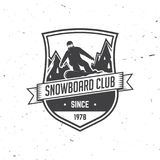 Snowboard Club. Vector illustration. Concept for shirt, print, stamp or tee. Vintage typography design with snowboarder and mountain silhouette. Extreme sport Stock Images