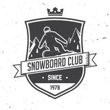 Snowboard Club. Vector illustration. Concept for shirt, print, stamp or tee. Vintage typography design with snowboarder and mountain silhouette. Extreme sport Stock Photography