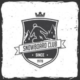 Snowboard Club. Vector illustration. Concept for shirt, print, stamp or tee. Vintage typography design with snowboarder and mountain silhouette. Extreme sport Royalty Free Stock Photography