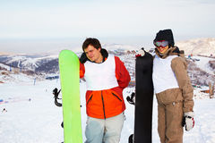 Snowboard couple on ski resort Stock Photo