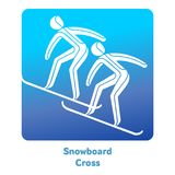 Winter games icon. Snowboard Cross icon. Olympic species of events in 2018. Winter sports games icons,  pictograms for web, print and other projects. Vector Stock Images