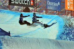 Snowboard cross world cup 2010: Caduff and Reichen Royalty Free Stock Image
