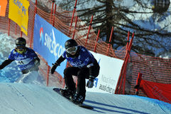 Snowboard cross world cup 2010. Fujimori and Doi Royalty Free Stock Image