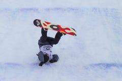 Snowboard de FIS mundial grande del aire Imágenes de archivo libres de regalías