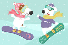 Snowboard del cane nella neve Immagine Stock Libera da Diritti