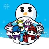 Snowboard del esquí y snowman-01 Fotografía de archivo