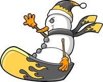 Snowboard del muñeco de nieve del día de fiesta de la Navidad Imágenes de archivo libres de regalías