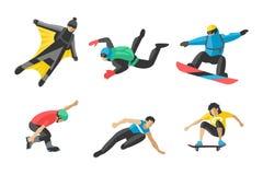 Snowboard del vector que salta el patín determinado del skater del skydiver de la velocidad de los atletas de las siluetas del ej Foto de archivo libre de regalías