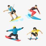 Snowboard del vector que salta el patín determinado del skater del skydiver de la velocidad de los atletas de las siluetas del ej Fotos de archivo