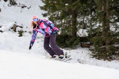 Snowboard della donna di inverno immagini stock