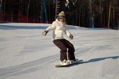 snowboard della ragazza Immagini Stock Libere da Diritti