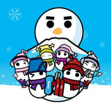 Snowboard dello sci e snowman-01 Fotografia Stock