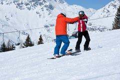 Snowboard, der Lektion studiert Lizenzfreies Stockfoto
