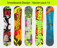 Snowboard design pack 15. Snowboard design pack - five full editable designs - vector Illustration Royalty Free Stock Image