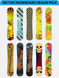 Snowboard design pack. Vector pack of ten colorful snowboard design Stock Photos