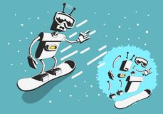 Snowboard Design With Robot Snowboarder Illustration With Separate Parts Elements Of Body. Vector Graphic Royalty Free Stock Image
