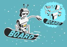 Snowboard Design With Robot Snowboarder Illustration With Separate Parts Elements Of Body. Vector Graphic Royalty Free Stock Photo