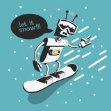 Snowboard Design With Robot Snowboarder Illustration Who Says Let It Snow. Vector Graphic Royalty Free Stock Image
