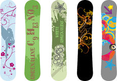 Snowboard designs. Vector pack of five snowboard deck design illustrations Stock Image