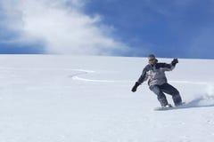 Snowboard di freeride dell'uomo Fotografia Stock Libera da Diritti