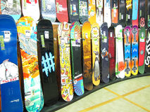 Snowboard display in a store. Royalty Free Stock Images