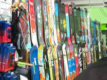 Snowboard display in a store. Royalty Free Stock Image