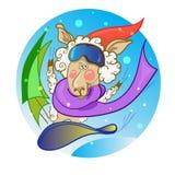 Snowboard do ano novo dos carneiros Imagens de Stock Royalty Free