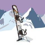 Snowboard en la nieve Imagen de archivo