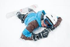 Snowboard en tormenta de la nieve Fotografía de archivo