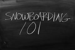 Snowboard 101 en una pizarra Foto de archivo libre de regalías