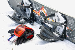 Snowboard equipment. In the snow stock images