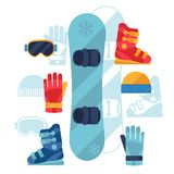 Snowboard equipment icons set in flat design style Stock Photography