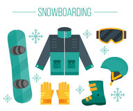Snowboard equipment- jacket, boots, helmet, goggles, gloves Royalty Free Stock Photography