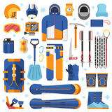 Snowboard Equipment Set. Freeride snowboard gear and accessories. Snowboarding suit, avalanche rescue kit and winter sport essentials. Snowboard equipment vector Stock Image